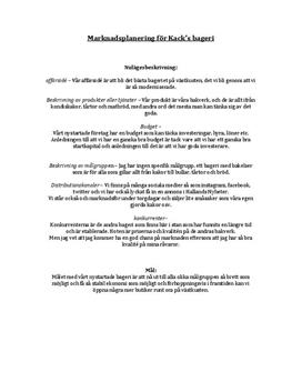Marknadsplan för Kacks bageri | Inlämningsuppgift