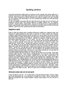 Språklig variation | Ungdomars språk | Talat och skrivet språk | Formellt och informellt språk