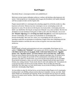 Karl Popper | Vetenskapsteori | Sammanfattning