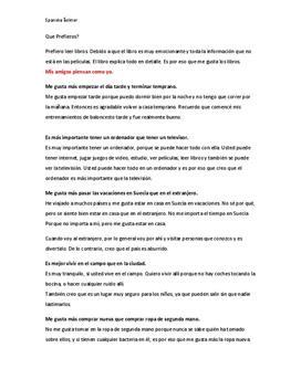 Que Prefieros? | Åsikter på spanska