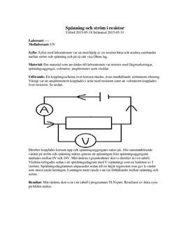 Spänning och ström i resistor | Labbrapport
