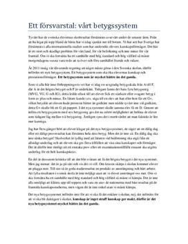Det nya betygssystemet | Försvarstal