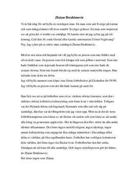 Hyllningstal till Zlatan Ibrahimovic   Tal