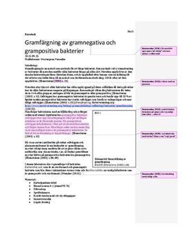 Gramfärgning av gramnegativa och grampositiva bakterier | Labbrapport