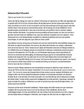 Frihandel i EU | Debattartikel