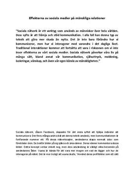 Effekterna av sociala medier på mänskliga relationer   Diskuterande text
