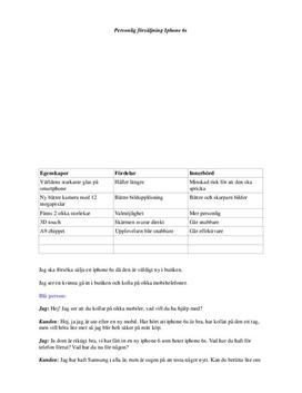 Personlig försäljning Iphone 6s | Analys av kundtyper
