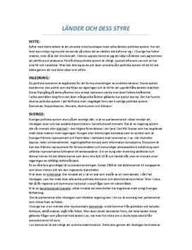 Länder och dess styre | Sverige och USA