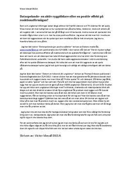 Dataspelande - ryggproblem eller reaktionsförmåga? | Argumenterande text