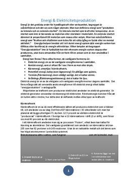 Energi- och elektricitetsproduktion | Fördjupningsarbete
