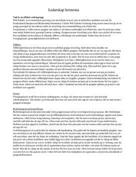 Ledarskap och organisation: Grupper och FIRO-modellen