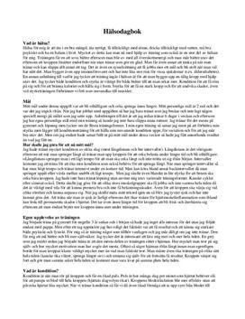 Hälsodagbok | Inlämningsuppgift