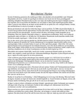 Revolution i Syrien | Sammanfattning