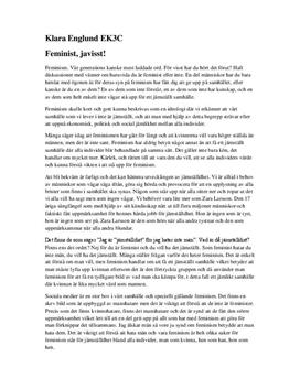 Feminist, javisst! | Argumenterande tal
