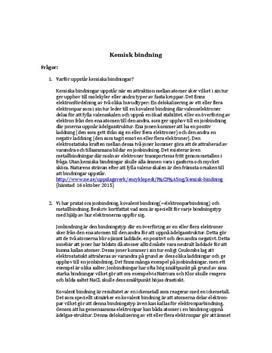 Frågor och svar om kemiska bindningar