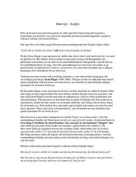 Intervju: Kognitiv utveckling utifrån Piaget