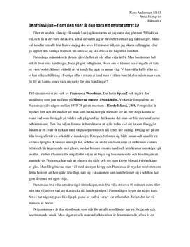 Existentialismen och den fria viljan | Diskuterande text