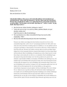 Vårdare och existentiella frågor | Livsåskådning | Fördjupningsuppgift