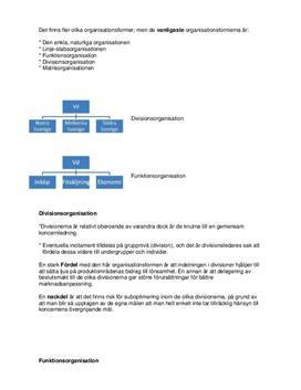 Organisationsformer: Divisionsorganisation och funktionsorganisation | Sammanfattning