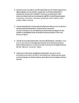 Jordbruk | Arbetslöshet | Budget och ekonomisk politik | Prov om ekonomi och arbetsmarknad