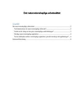 Det naturvetenskapliga arbetssättet | Fördjupningsarbete