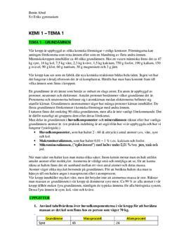 Grundämnen | Anteckningar från Kemi A: Tema & teori