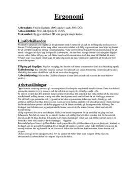 Ergonomi hos ett företag | Undersökning