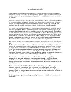 Argumenterande text: Legalisera cannabis