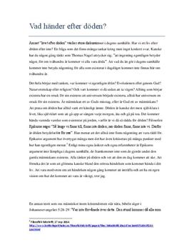 Livet efter döden | Diskuterande text | Filosofi 1