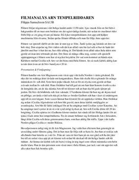 Filmanalys   Arn: Tempelriddaren