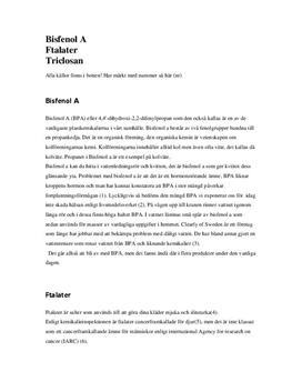 Bisfenol A, ftalater och triclosan   Fördjupningsarbete   Kemi