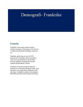 Frankrikes demografi | Fördjupningsuppgift