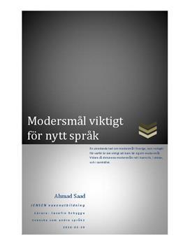 Modersmål viktigt för nytt språk | Utredande text