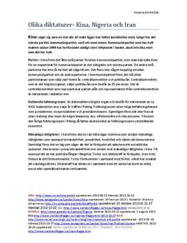Diktaturer: Kina, Nigeria och Iran | Jämförelse