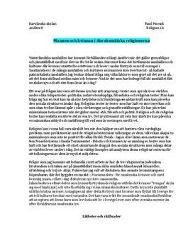 Mannen och kvinnan i de Abrahamitiska religionerna | Fördjupningsuppgift