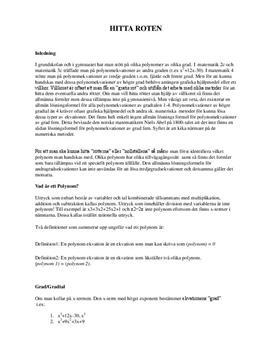 Hitta rötter till polynomekvationer | Fördjupningsarbete | Matematik