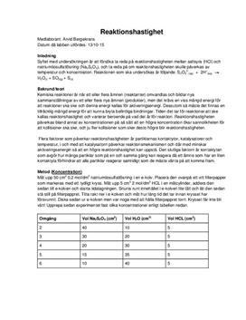 Reaktionshastighet med natriumtiosulfat: Temperatur och koncentration | Labbrapport