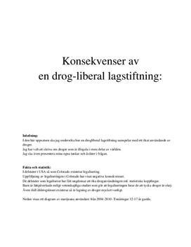 Drogliberal lagstiftning | Fördjupningsarbete | Naturkunskap