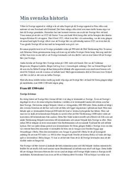 Sveriges historia | Fördjupningsuppgift