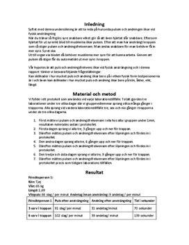 Puls och andningsfrekvens | Labbrapport | Naturkunskap