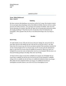 Kriminalitet | Kausalitetsanalys | Samhällskunskap 1b