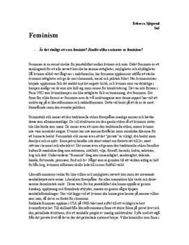 Feminism | Jämförelse | Filosofi 1