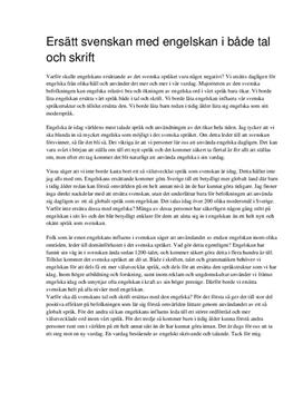 Ersätt svenskan med engelskan | Argumenterande tal