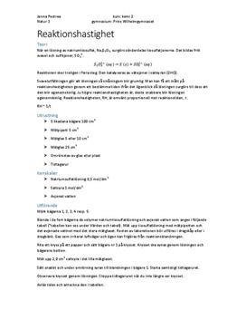 Reaktionshastighet med natriumsulfat | Labbrapport