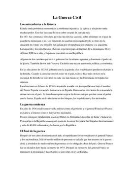 La Guerra Civil Española - Spanska inbördeskriget | Sammanfattning | Spanska