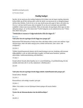 Statlig budget | Samhällsvetenskaplig analys