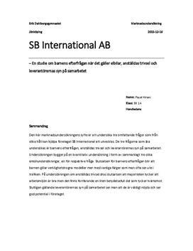 Marknadsundersökning | SB International | Elbilar