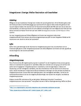 Integrationsprocessen i Sverige | Rapport och undersökning