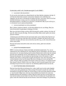 E. coli   Instuderingsfrågor