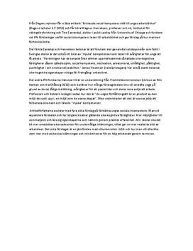 Bristande social kompetens skäl till ungas arbetslöshet   Referat